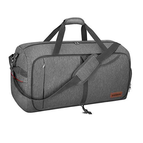 CANWAY Faltbare Reisetasche Leicht Sporttasche mit Abnehmbar Schulterriemen & Schuhfach Reisegepäck für Reisen Sport Gym Urlaub (Grau, 85L)