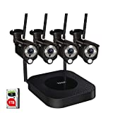 [2 Way Audio&Expandable] Tonton 1080P Security Camera System Wireless,8CH NVR Recorder with 1TB HDD and 4PCS 2MP Outdoor Indoor Bullet Wireless IP Cameras with PIR Sensor,Plug and Play(Black)