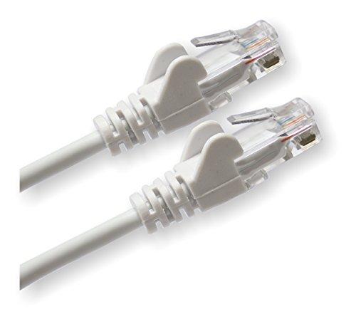 rhinocables Netzwerkkabel, Ethernet, Lan & Patch Kabel, RJ45 Molded Cat5e Verlegekabel Patchkabel für: UTP - Switch Router - Modem - Patchpannel - Access Point – Patchfelder (3m, Weiß)
