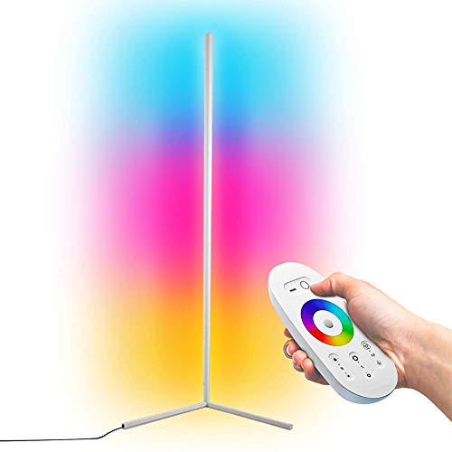 GDFGTH LED Eck Stehlampe Moderne Minimalist RGB Dimmbare Stehleuchte Bunt Inneneinrichtung Beleuchtung mit Fernbedienung Kann im Schlafzimmer Wohnzimmer Büro Gang,Weiß,140cm