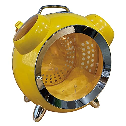 猫 犬 ペット キャリー 温湿度デジタル表示付き ペットキャリー カプセルペット アラームクロック リュック ネコ ケージ MR-PETAP01 (イエロー)