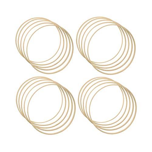 JZK 20 x Aros de madera de bambú de 20 cm para macramé artesanía, de madera, para atrapasueños, con diseño floral, para colgar en la pared, para manualidades