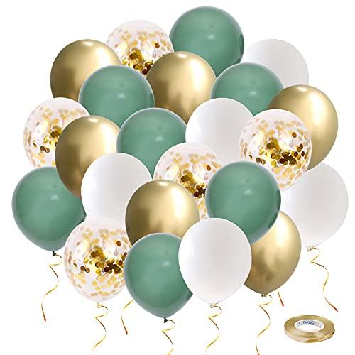 Globos de fiesta verdes y dorados, 50 globos de confeti retro de 12 pulgadas, color verde salvia, blanco y dorado metálico con cinta para decoración de bodas, cumpleaños, baby shower (oro verde50 piezas)