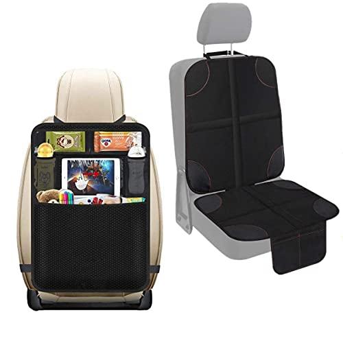 Veshow Protector de asiento de coche para asientos de niño organizador trasero con múltiples bolsillos para almacenamiento grande con tela impermeable y funda acolchada más gruesa (Negro-4)