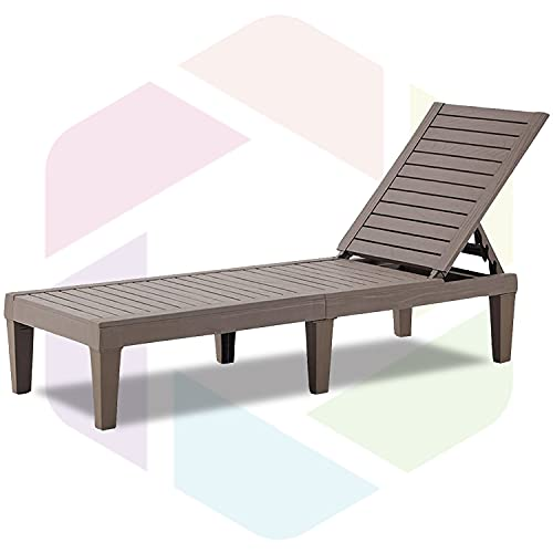 Furnivilla Outdoor Chaise Lounge Patio Resin Lounge Chair Adjustable Recliner Reclining Chair with 5-Position Design Wooden Texture for Patio, Beach and Poolside (Light Gray)