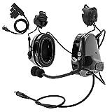 TAC-Sky COMTA III - Casco táctico de casco, orejeras Airsoft con riel lateral con PTT y micrófono para la caza (gris)