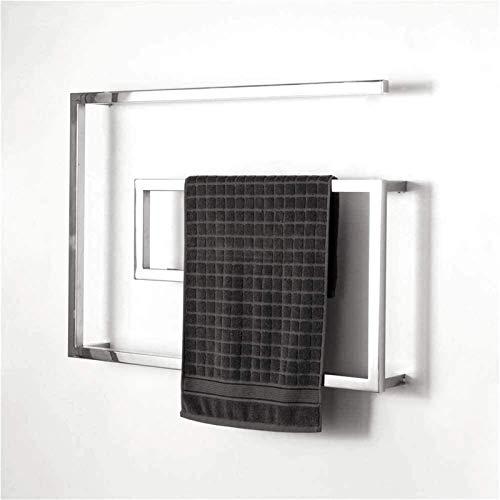 Rieles de toallero con calefacción Calentador de toallas, Calentador de toallas eléctrico Barras de toalla curvadas Acero inoxidable Pulido Cromado con interruptor LED, 4 barras térmicas, Toallero cal