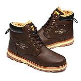 gracosy Botas de Hombre Senderismo Otoño Invierno Botas de Nieve Botines de Vestir Piel Cálido Al Aire Libre Zapatillas Planos Zapatos Antideslizante
