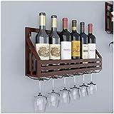 Hmvlw Estantería de vino Vino estante de la pared cuelga upside-down copa de vino en rack rack simple estante del vino del restaurante Decoración Estante del vino (Color : Brown)