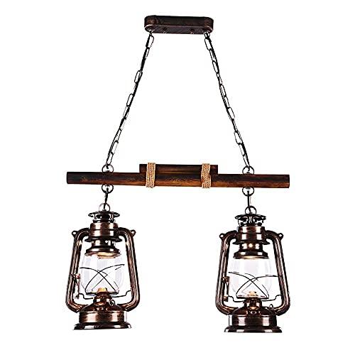 Dkdnjsk 2-cabezas colgante de luz interior colgante iluminación americano retro madera sólido candelabros 2-luces labrado hierro colgante lámparas de techo creativo nostálgico linterna E27 luz base ed