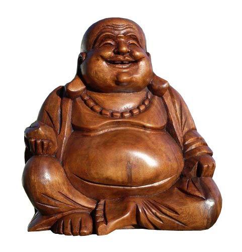 Super schöner 25 cm BUDDHA Happy HOLZ BUDDA FENG SHUI Bali Buda BH25