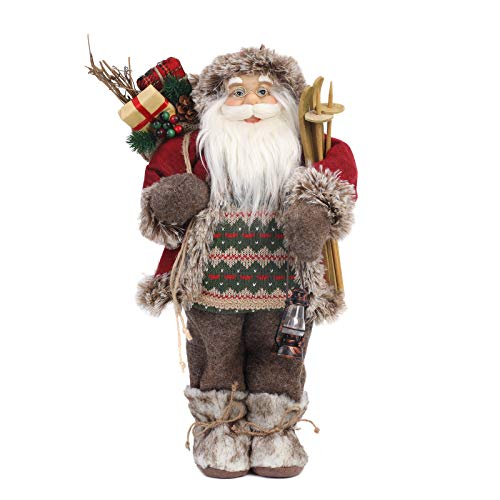 Yeeping Christmas Santa Figurine, Hand Crafted Santa Claus, 2020 Style, Santa Doll, Santa Decor, Santa Toy, Christmas Decoration, 18 Inch, Brown