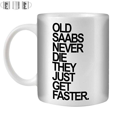 Stuff4 Tee/Kaffee Becher 350ml/Saab/Black Text/Alte Autos/Weißkeramik/ST10