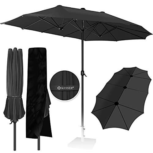 KESSER® Sonnenschirm Doppelsonnenschirm + Abdeckung | Gartenschirm | Marktschirm | Terrassenschirm mit Handkurbel | Oval | Aluminium | UV-beständig | wasserabweisenden | Anthrazit