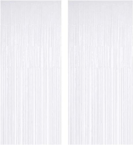 JOYYU White Foil Fringe Curtain, 2PCS 3.28FT x 8.2FT Metallic Tinsel Door Curtains Photo Booth Backdrop for Wedding Birthday Bridal Shower Baby Shower Bachelorette Christmas Party Decorations