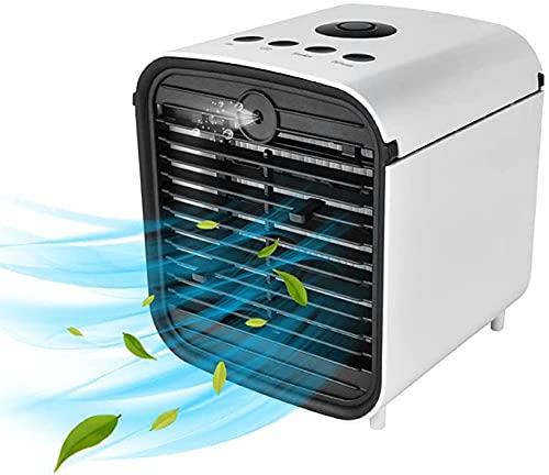 Portable Air Conditioner Fan, 4 in 1 Mini Personal Evaporative Air Cooler, Humidifier with 7 Colors LED Light, 3 Speed Desktop Cooling Fan for Home, Room, Office-default