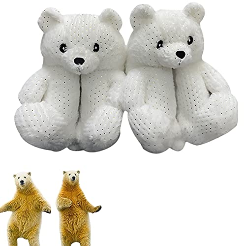 Teddy Bears Slippers, Plush Animal Slippers Winter Warm Shoes, Teddy Bear Shoes, Fluffy Home Slippers For Women Indoor, One Size (White)