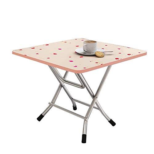 Mesa de comedor plegable, mesa de café, mesa cuadrada, mesa de estudio, escritorio pequeño, mesa de picnic portátil, 60 x 60 x 50 cm, 7 colores (color: B)