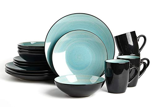 HomeVss Sonoma 16 Piece Stoneware Dinner Set Outside Black  Inside Handpainted Color Turquoise with speckle