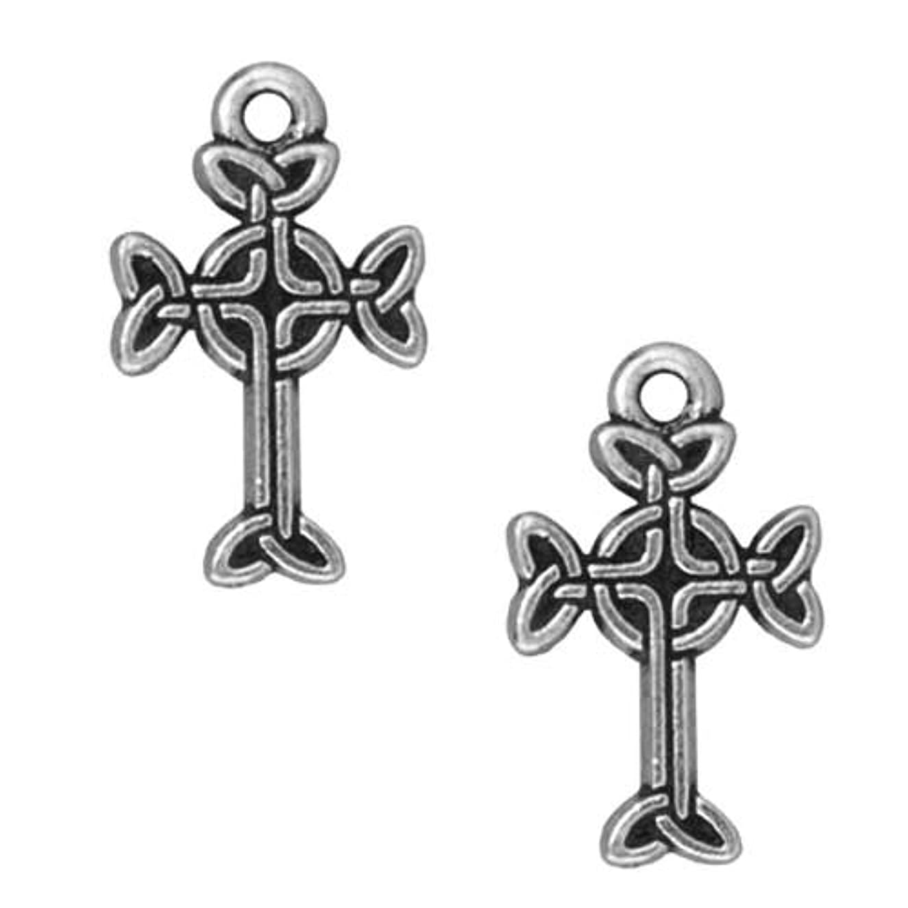 TierraCast Celtic Cross Charm, 18.5mm, Antiqued Fine Silver Plated Pewter, 4-Pack