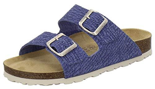 AFS-Schuhe 2100, Bequeme Damen Pantoletten echt Leder, praktische Arbeitsschuhe, Hausschuhe, Handmade in Germany (38 EU, Jeans)
