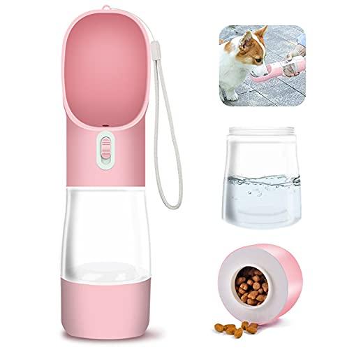 WR WPAIER 2 en 1 Botella de Agua para Perro Portatil, 258ml + 200ml Botella Portátil de Agua Potable para Mascotas al Aire Libre Rosado
