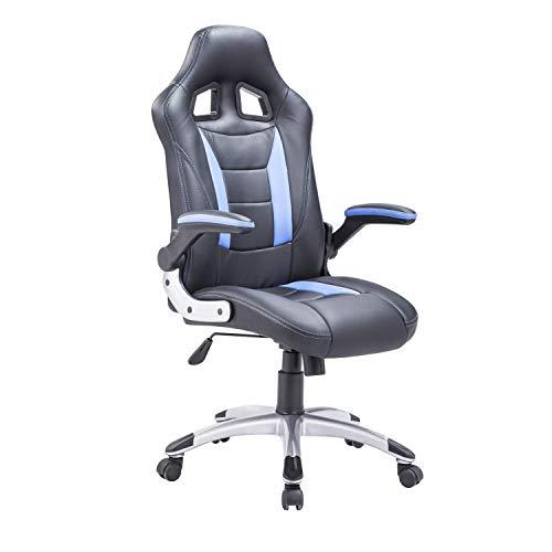 Adec - Silla giratoria Oficina, sillón Escritorio Gaming (Negro y Azul)
