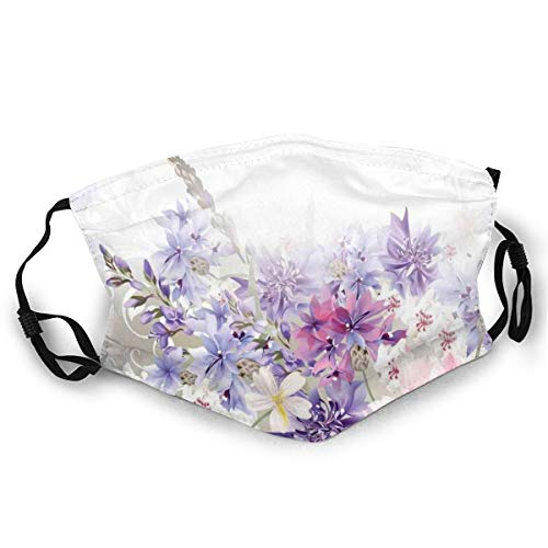 Fashion Comfortable Windproof mask,Pastel Cornflowers Bridal Classic Design Gentle Floral Wedding Decor Print,Printed Facial decorations for Unisex
