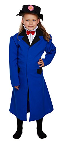 GCC Fashion Store - Costume da bambina vittoriano Mary Poppins per la settimana del libro per bambini (blu, 4-6 anni)