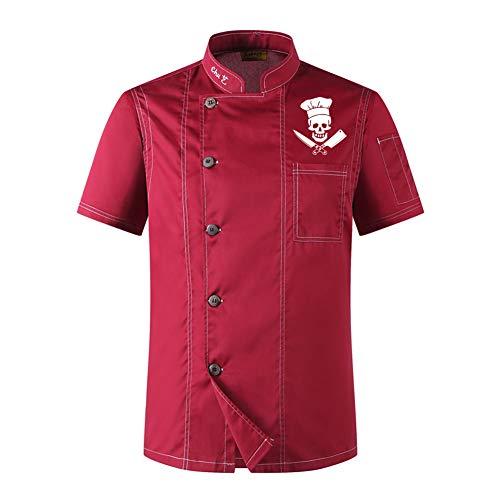 Bycloth Kochjacke Kurzarm für Unisex Küchentücher Koch Koch Kellner Kellnerin Mantel Uniformjacke,Rot,M