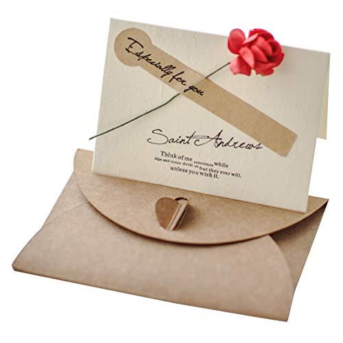 Lumierechat メッセージ カード メッセージカード ミニ プチ 一言メッセージ お礼 フラワー 席札 結婚式 テーブル 多目的 封筒 付き a-9056(10枚/レッド)