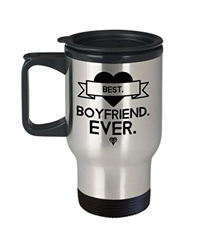 Best Boyfriend Ever Travel Coffee Mug with Handle, Lid - Romantic Sayings Gift - Insulated, Stainless - Valentine's Day, Anniversary