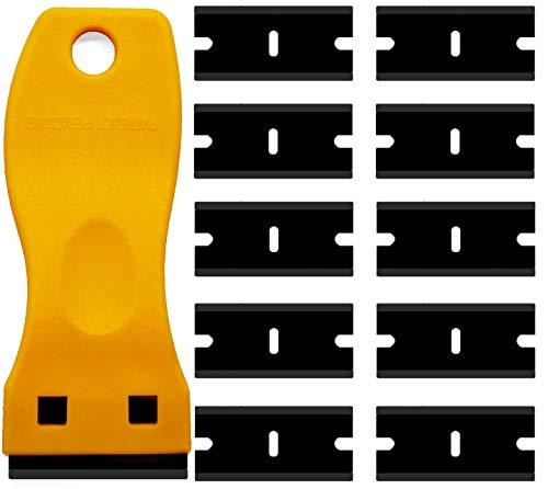Mini raspador de plástico de doble filo, raspador de plástico con raspador con 10 cuchillas de afeitar de plástico para quitar etiquetas, pegatinas y calcomanías (raspador amarillo + 10 cuchillas)