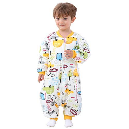 Baby Schlafsack mit Beinen Warm Gefüttert Winter Langarm Winterschlafsack mit Fuß 2.5 Tog (Stadtauto,M/Höhe 92cm-102cm)