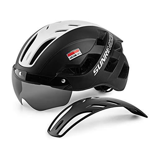 Casco da bici per adulti uomini donne, caschi leggeri di dimensioni regolabili con luce posteriore ricaricabile USB e occhiali magnetici per caschi da bici da montagna e da strada (57-61cm)