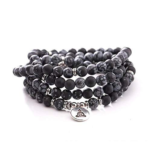 Natuurlijke steen Armband, Beaded Armband 108 Mode Yoga Energie Beaded Armband 8 Mm Zwart Sneeuwvlok Stone Boeddha Hanger Trui Ketting Stretch Kraal Armband Sieraden Gepersonaliseerde Kleding Accessoires