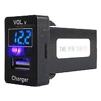 トヨタAタイプ ヴォクシー VOXY ZRR80系 H26.1~現在 LED発光:ブルー 電圧計表示 USBポート 充電 12V 2.1A 増設 パネル USBスイッチホールカバー