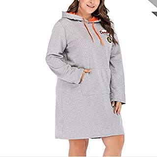 YXHM A Fashion Casual Dress Loose Hooded Long-Sleeved Dress Large Size Women (Color : Grey, Size : 4XL)