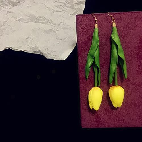SALAN Pendientes Colgantes Hechos A Mano De Resina De Tulipán, Bonitos Pendientes Largos con Flores, Divertidos Y Raros, para Mujer, Accesorios De Joyería