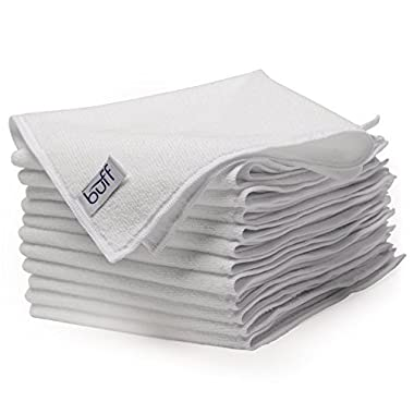 White Microfiber Cleaning Cloths | Best Towels for Dusting, Scrubbing, Polishing, Absorbing | Large 16  x 16  Buff Pro Multi-Surface Microfiber Towel - 12 Pack