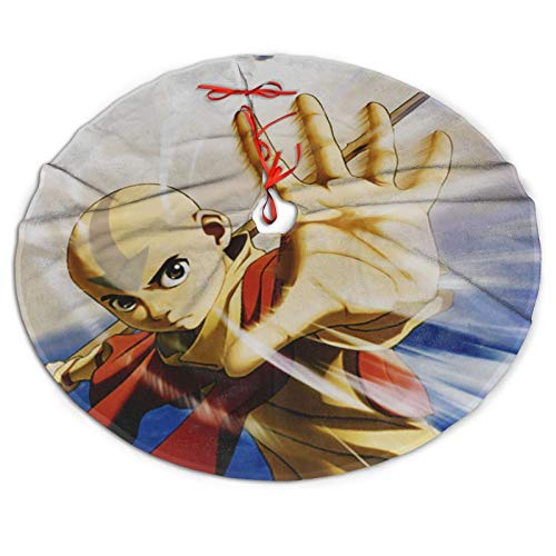 WAYMAY Avatar The Last Legend Airbender of Korra aang Fashion Christmas Tree Skirt Unique 3D Printing Christmas Decorative Tree Skirt, for Big Type Small Type Christmas Tree Decorations (36inch)