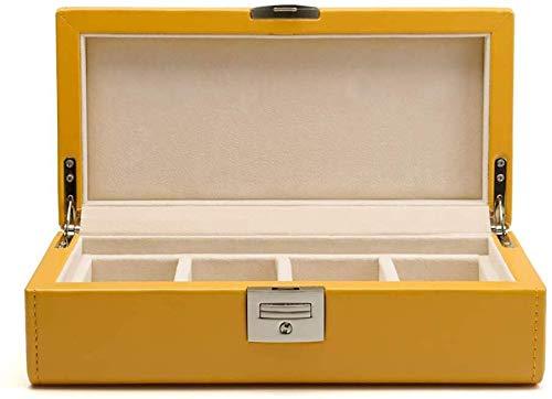Decoratieve box Sieraden kast PU leer kijken opbergdoos vier horloges sieraden doos met slot tafel doos grote sieraden doos Juwelendoos (Color : Yellow)