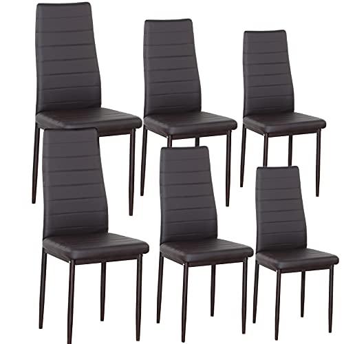 Juego de 6 sillas de salón, sala de estar, sillas, sala de estar, sillones reclinables con respaldo acolchado rosa, azul adecuado para comedor de cocina (marrón, 6)