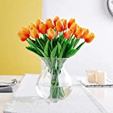 SHINE-CO LIGHTING PU Real Touch Tulips Artificial Flowers 10 Pcs Flowers Arrangement Bouquet for Home Office Wedding Decoration (Orange)