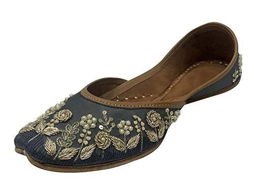 Step n Style Indische Schuhe Flache Mojari Handgemachte Sandalen Indische Schuhe Punjabi Jutti für Damen, Grau (grau), 41 EU