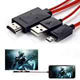 Phone to TV Cable,6.5 Feet 11 Pin Micro USB to HDMI Adapter Cable 1080P HDTV for Samsung Galaxy S5/S4/S3/Note 2/Note3 Galaxy Tab 3 8.0, Tab 3 10.1, Tab Pro, Galaxy Note 8, Note Pro 12.2