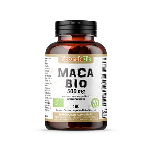 Maca Bio en Gélules de 500mg (180 Capsules). Organic Peruvian Maca Root. 100% Gélatinisée, Naturel et Pur, Produit au Perou de Racine de Maca Biologique. NaturaleBio