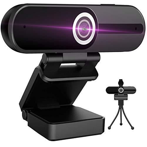 Webcam 4K HD Computer Camera 8MP Microphone PC Web Camera, Full Widescreen Laptop USB Webcams, Privacy Shutter, Tripod, Mac Desktop Notebook Webcam, Video Calling Recording Webcam