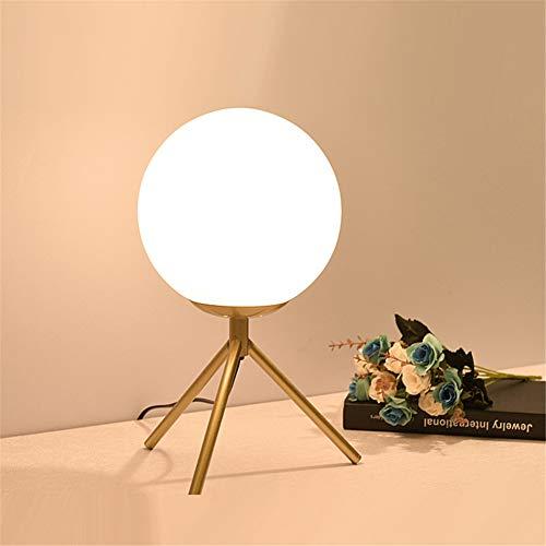Lámpara de Mesa de diseño Simple Lámpara de Vidrio Sombra de lámpara de Bola para Dormitorio, trípode de Metal Lectura de Noche de Lectura de Noche para niños Adulto,Oro