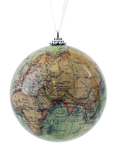 Caffco Antique Old World Map Globe Hanging Christmas Ornament